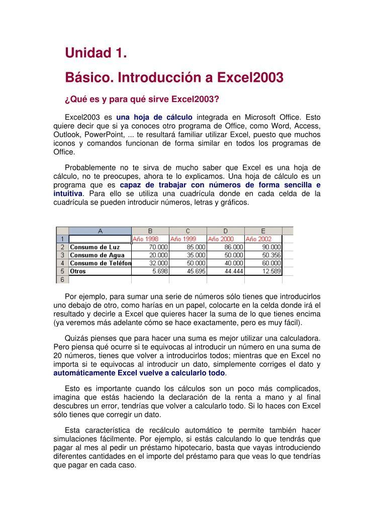 PDF de programación - Unidad 1. Básico. Introducción a Excel2003