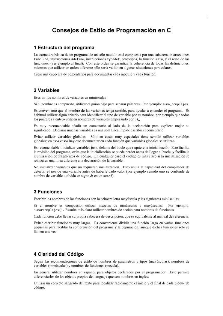 Pdf De Programación Consejos De Estilo De Programación En C