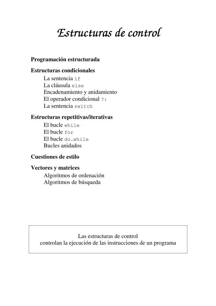 Pdf De Programación Estructuras De Control C