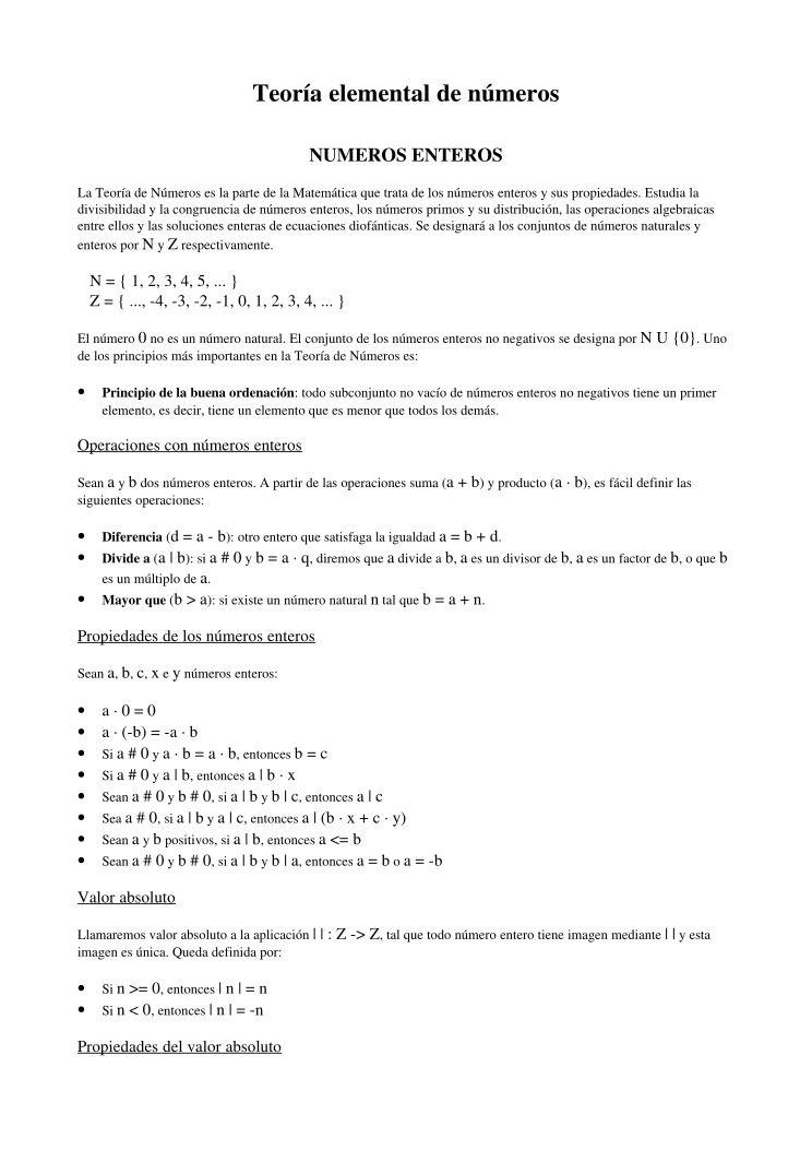 PDF de programación - Teoría elemental de números NUMEROS ENTEROS