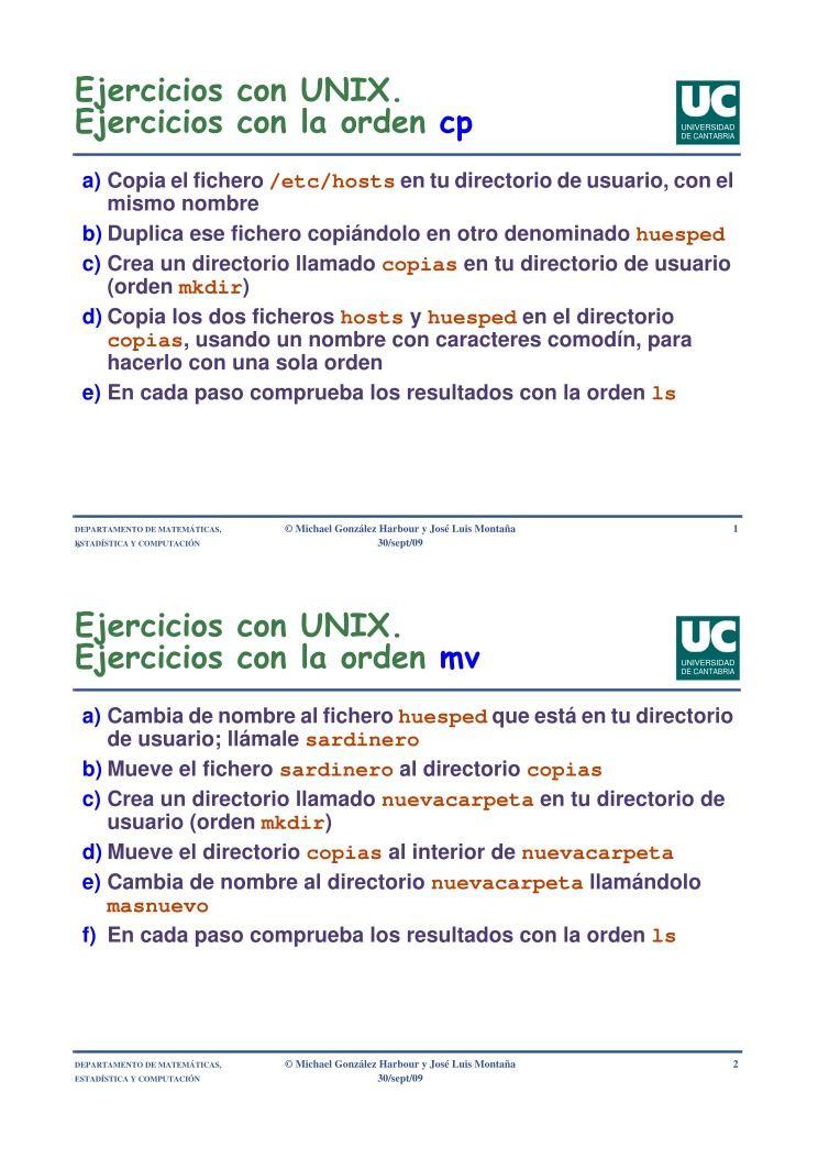 PDF de programación - Ejercicios con UNIX - Ejercicios con la orden cp