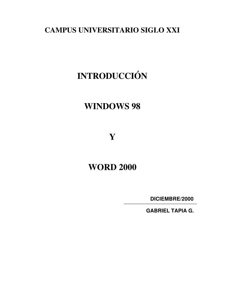 Imágen de pdf INTRODUCCIÓN WINDOWS 98 Y WORD 2000