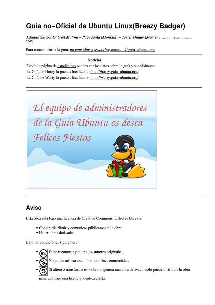 Pdf de programaci n gu a no oficial de ubuntu linux for Guia mecanica de cocina pdf