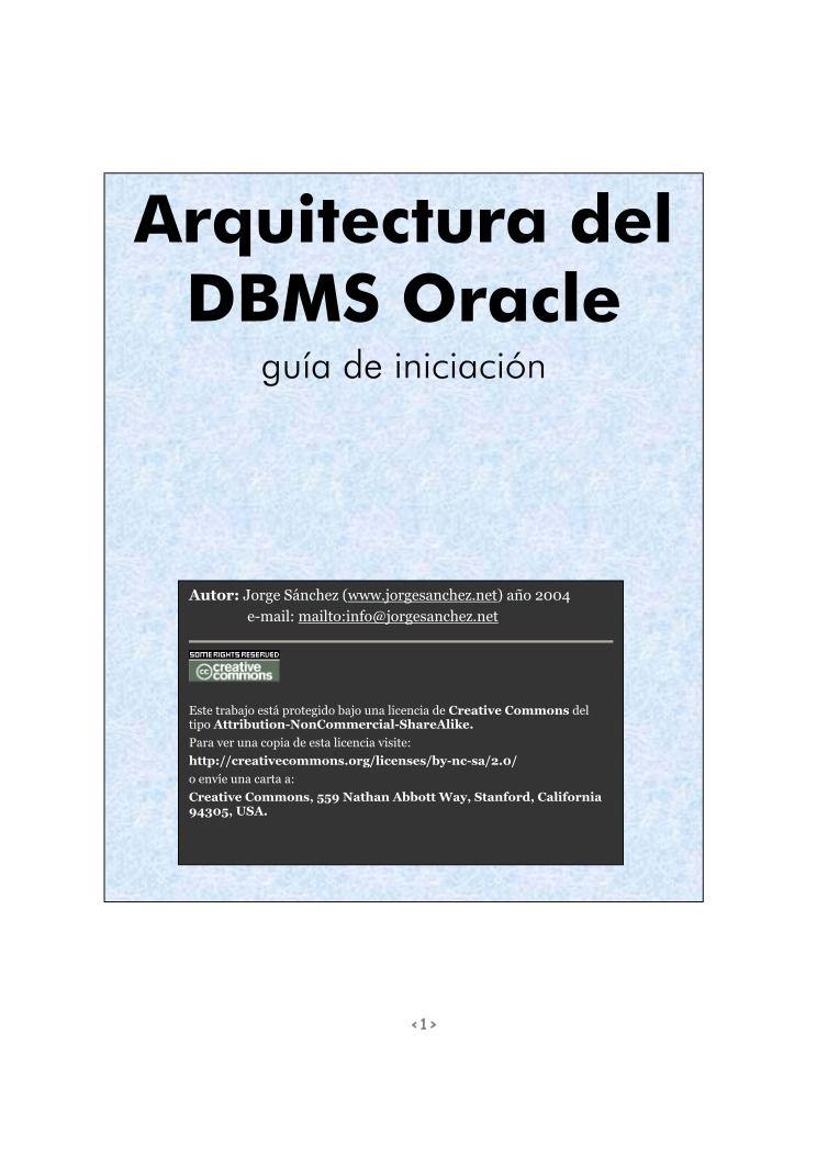 Pdf De Programaci N Arquitectura Del Dbms Oracle