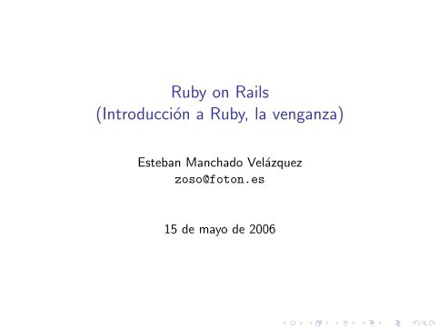 Imágen de pdf Ruby on Rails   (Introducción a Ruby, la venganza)