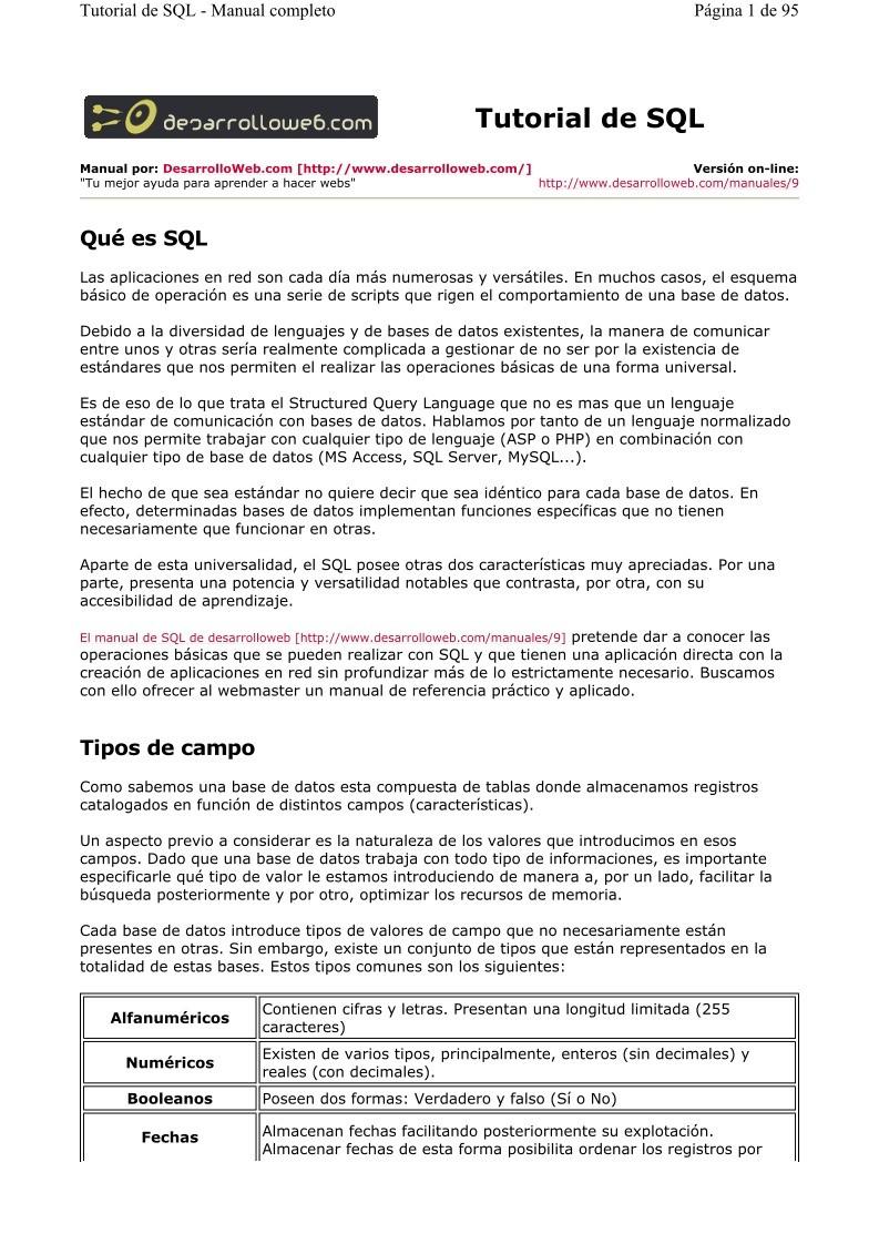 PDF de programación - Tutorial de SQL