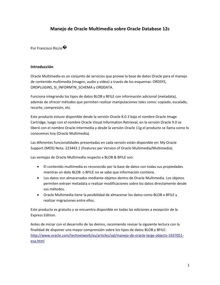 PDF de programación - Manejo Oracle Multimedia Oracle Database 12c