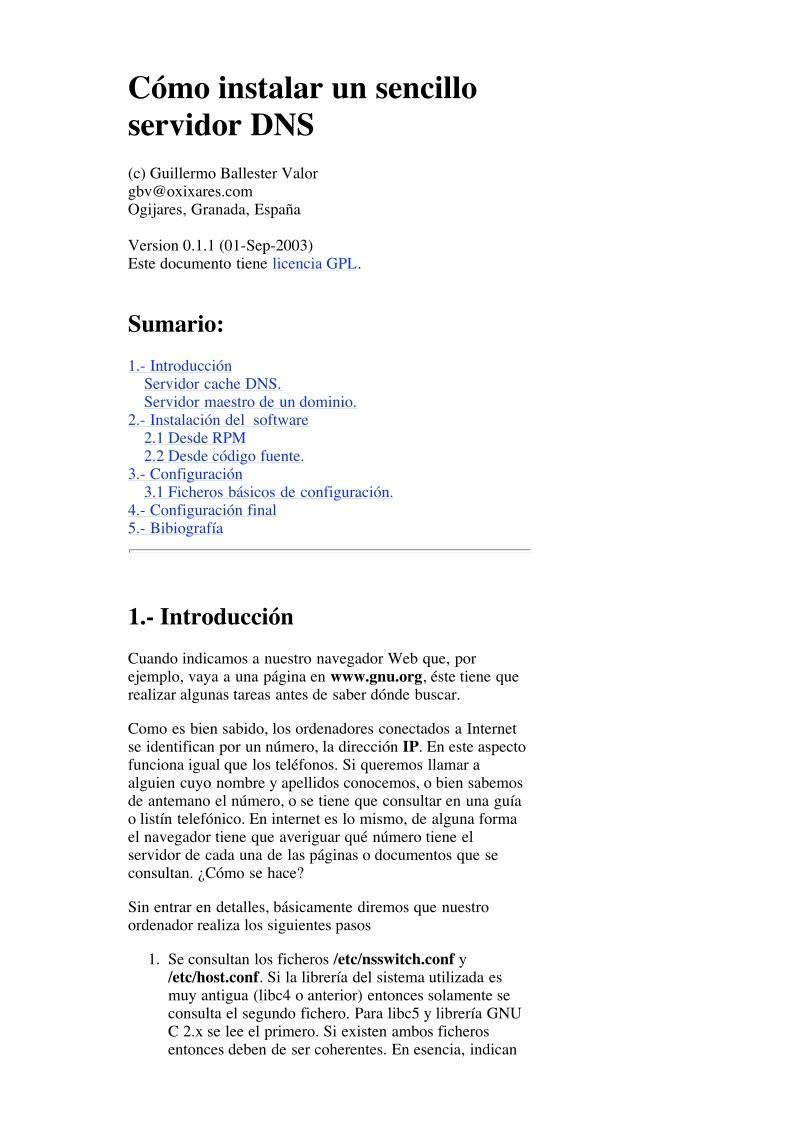 PDF de programación - Cómo instalar un sencillo servidor DNS