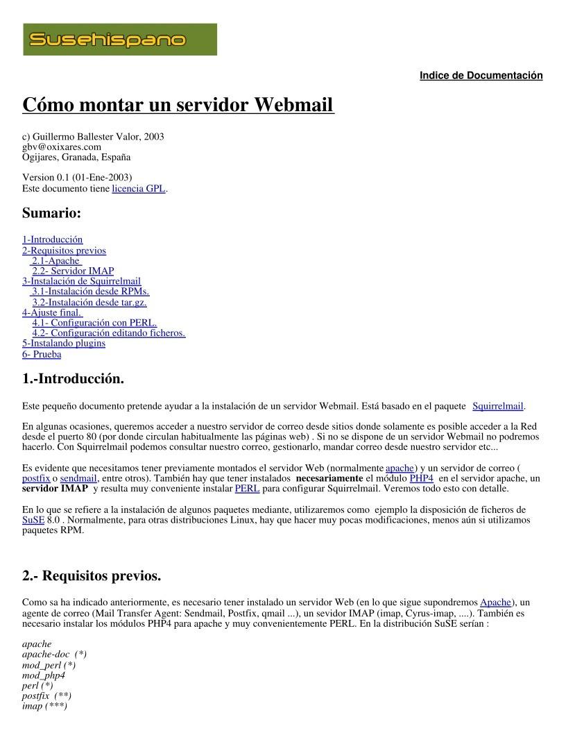 Estad sticas del pdf c mo montar un servidor webmail - Montar un servidor en casa ...