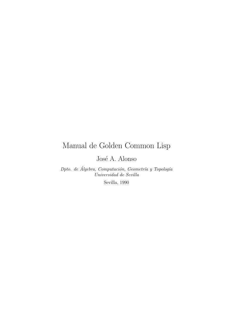 Imágen de pdf Manual de Golden Common Lisp