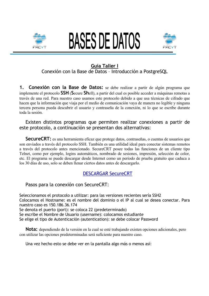 PDF de programación - Guía Taller I - Conexión con la Base de Datos ...