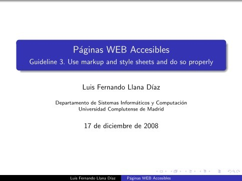 Imágen de pdf Páginas WEB Accesibles - Guideline 3. Use markup and style sheets and do so properly