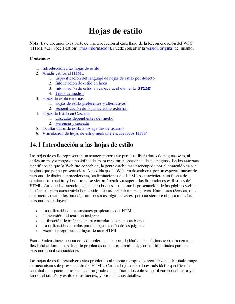 PDF de programación - Hojas de estilo