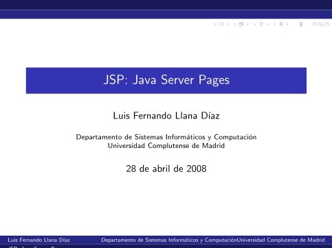 Imágen de pdf JSP: Java Server Pages