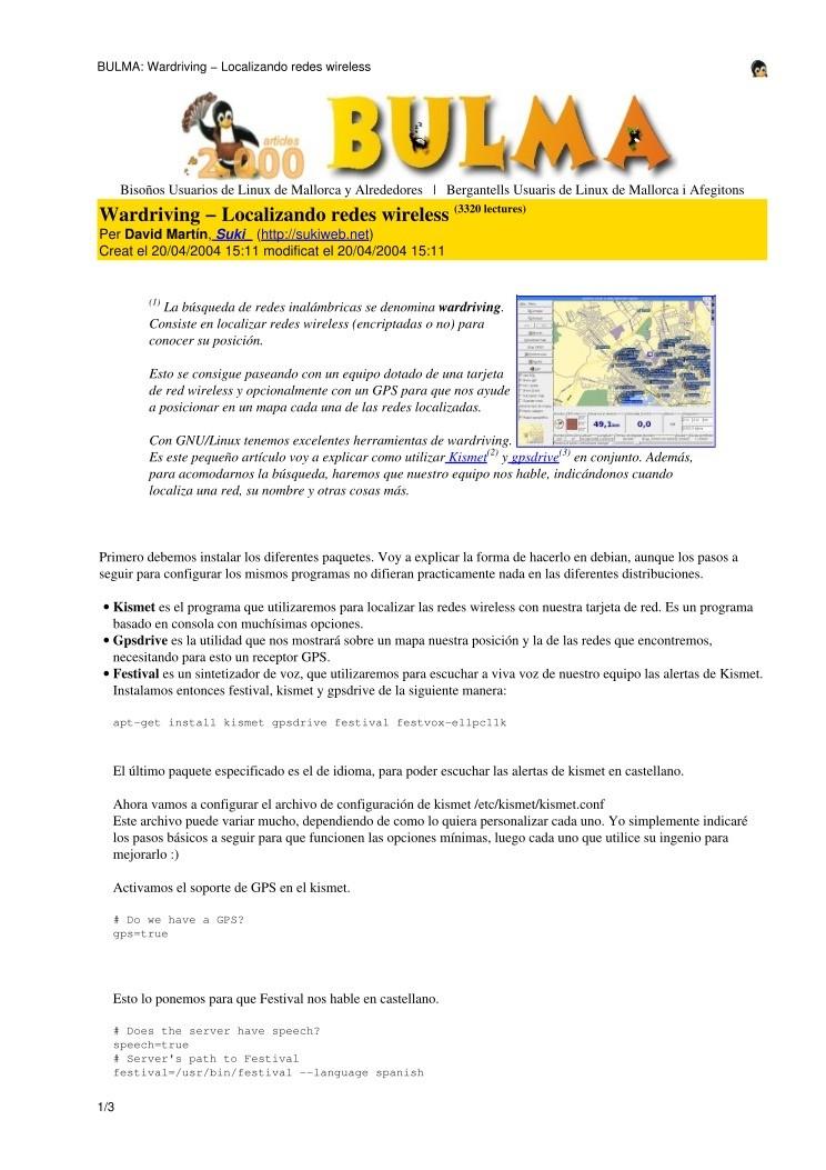 PDF de programación - Kismet Mini-mini-howto: Una guia para Mendoza