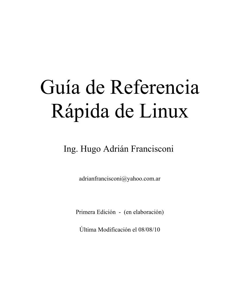 Pdf de programaci n gu a de referencia r pida de linux for Guia mecanica de cocina pdf