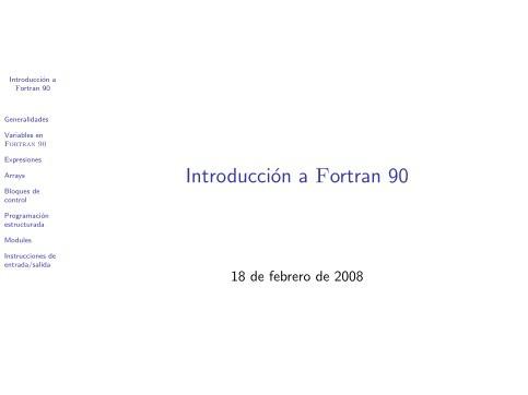 PDF de programación - Introducción a Fortran 90