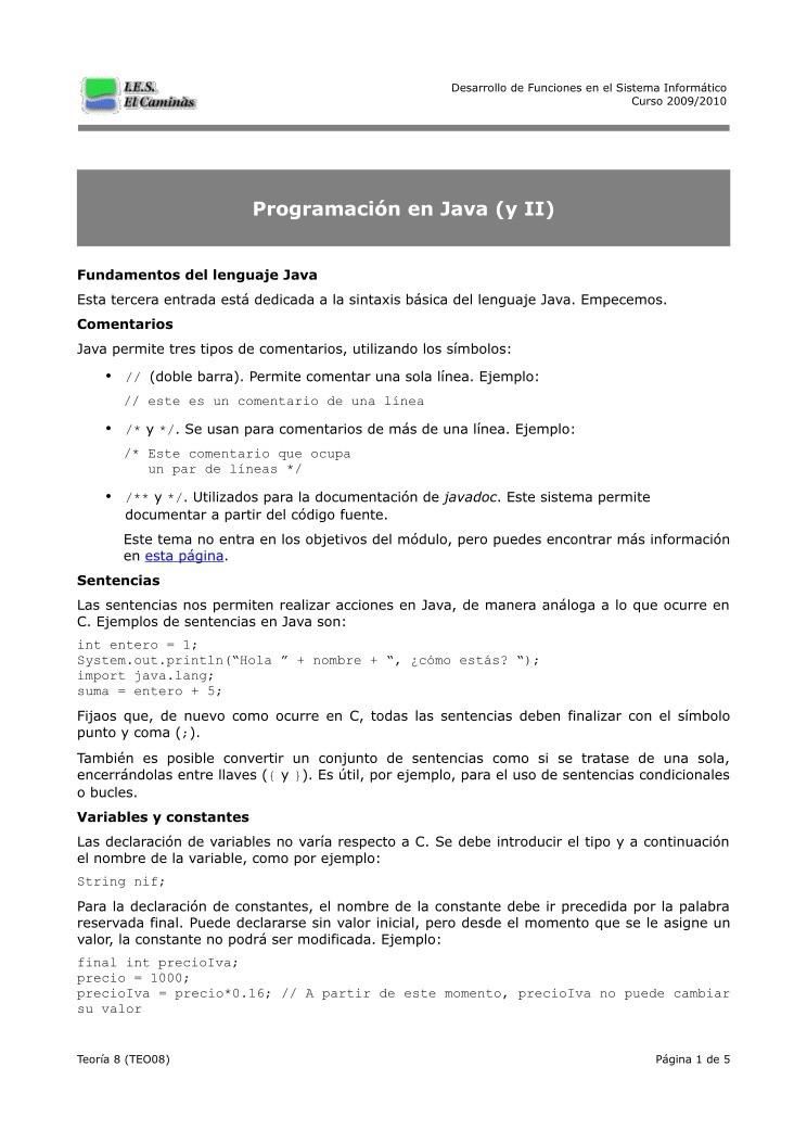 PDF de programación - Teoría 8 - Programación en Java (y II)