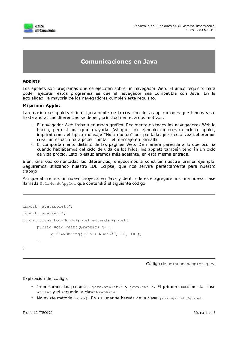 PDF de programación - Teoría 12 - Comunicaciones en Java