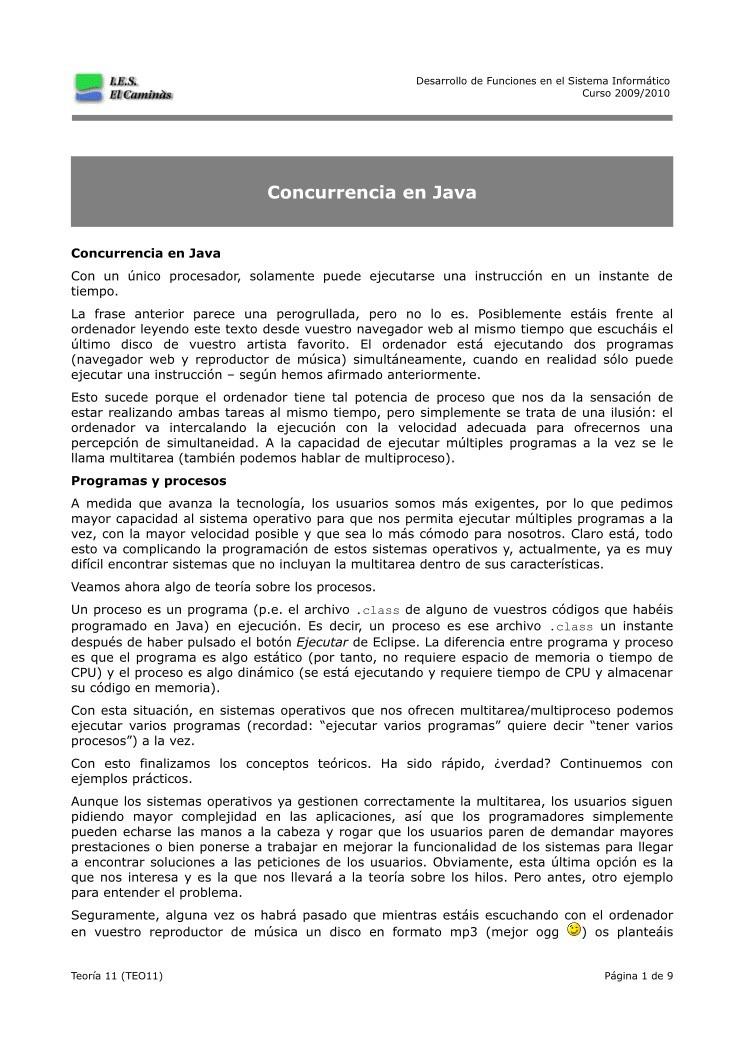 PDF de programación - Concurrencia en Java