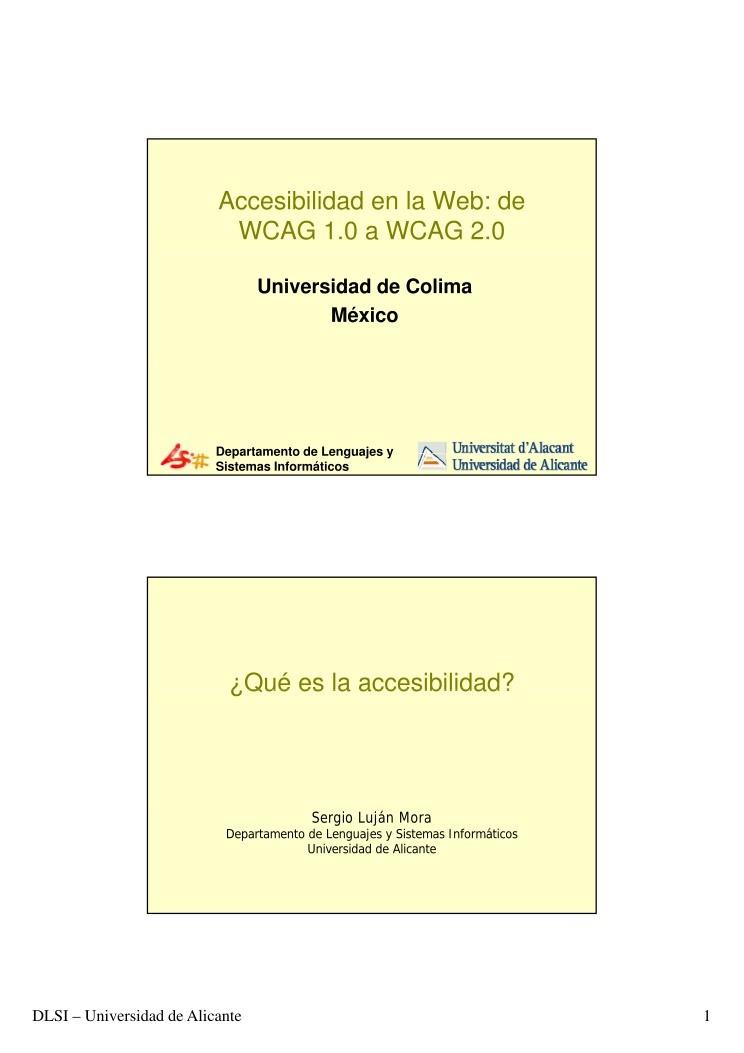 Pdf de programaci n accesibilidad en la web de wcag 1 0 for Que es accesibilidad