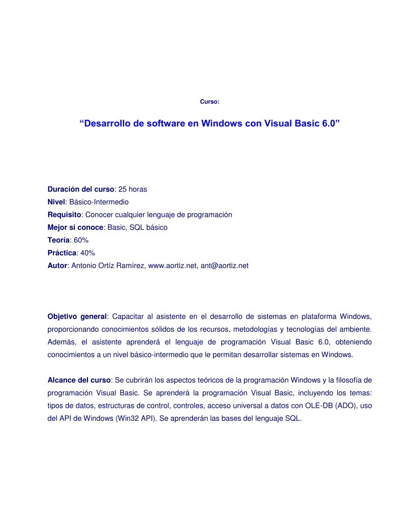 Imágen de pdf Desarrollo de software en Windows con Visual Basic 6.0 (Básico-Intermedio)