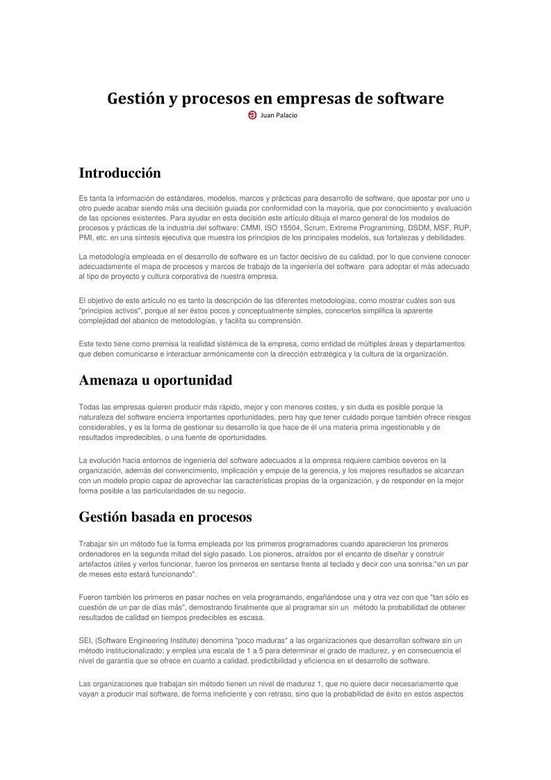 PDF de programación - Gestión y procesos en empresas de software