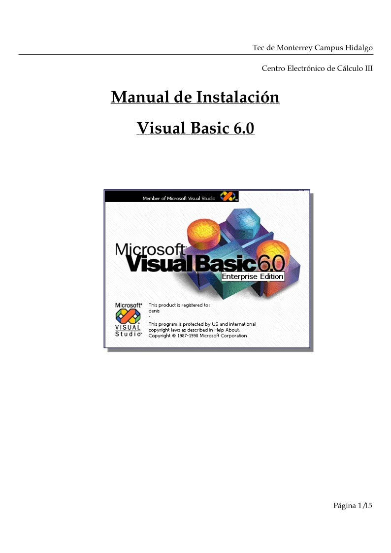 Imágen de pdf Manual de instalación de Visual Basic 6.0