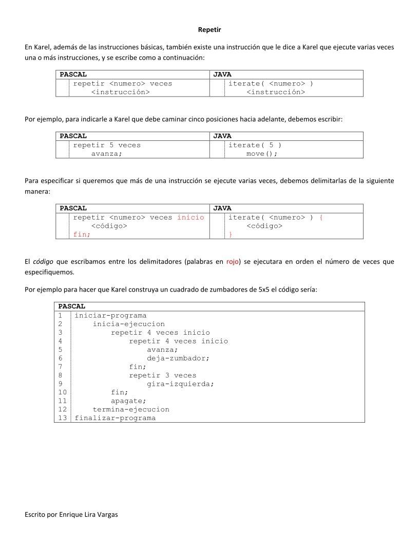Pdf De Programación Primeros Pasos En Karel Iii