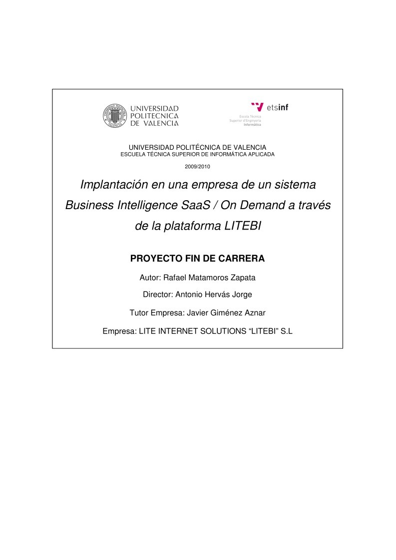 Imágen de pdf Implantación en una empresa de un sistema Business Intelligence SaaS / On Demand a través de la plataforma LITEBI