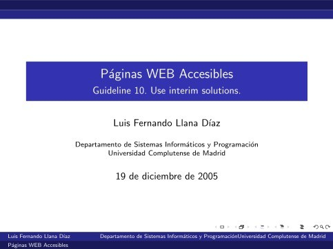 Imágen de pdf Páginas WEB Accesibles - Guideline 10. Use interim solutions.