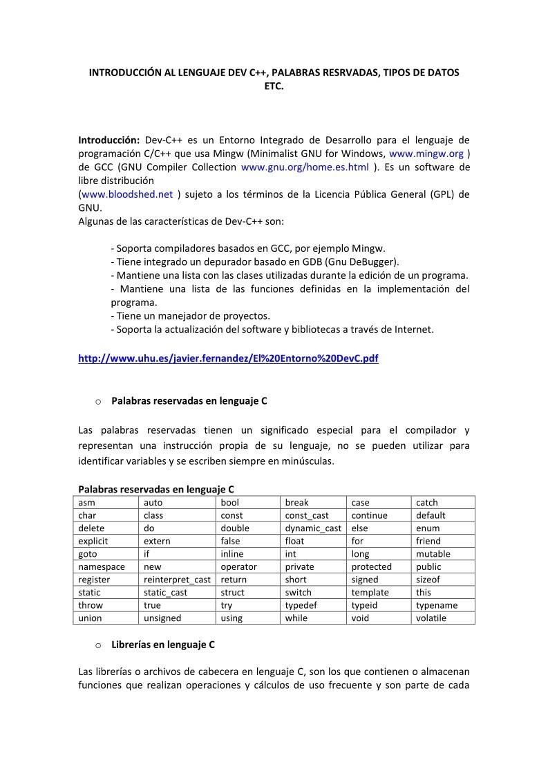 Pdf De Programación Introducción Al Lenguaje Dev C