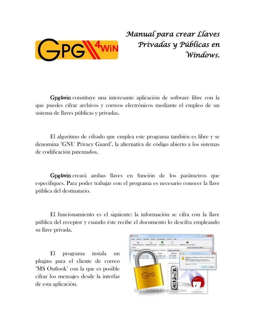 Imágen de pdf Manual para crear Llaves Privadas y Públicas en Windows