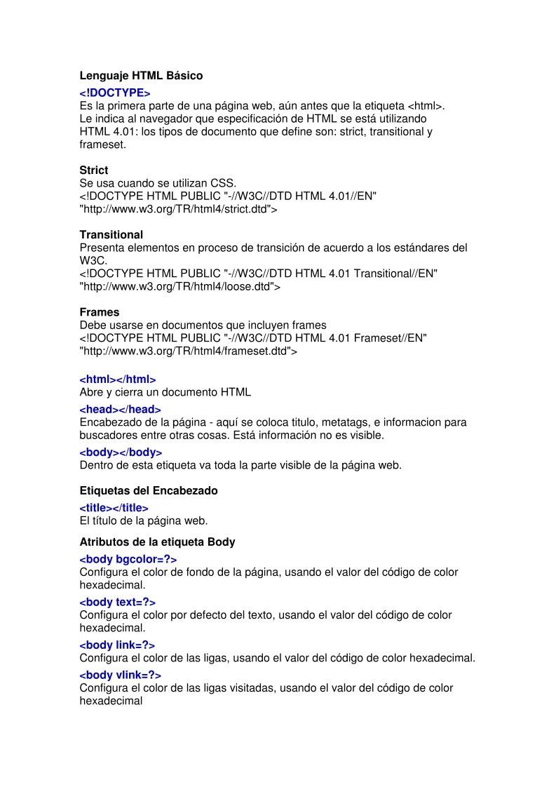 PDF de programación - Manual HTML Básico - etiquetas
