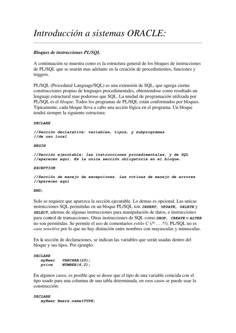 Excepcional Pl Sql Resume Ejemplos Festooning - Colección De ...
