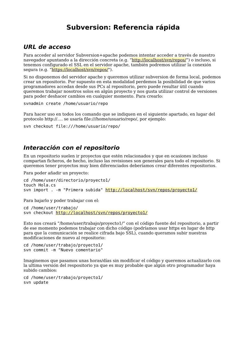 PDF de programación - Subversion: Referencia rápida