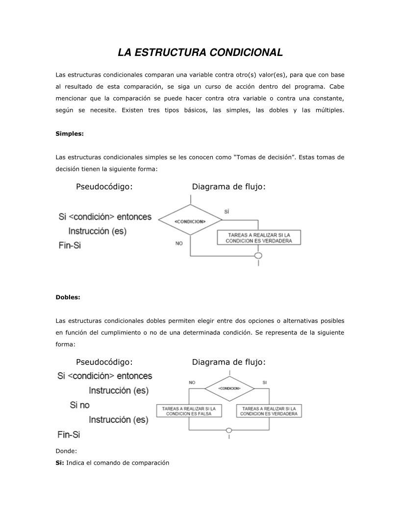 Pdf De Programación La Estructura Condicional