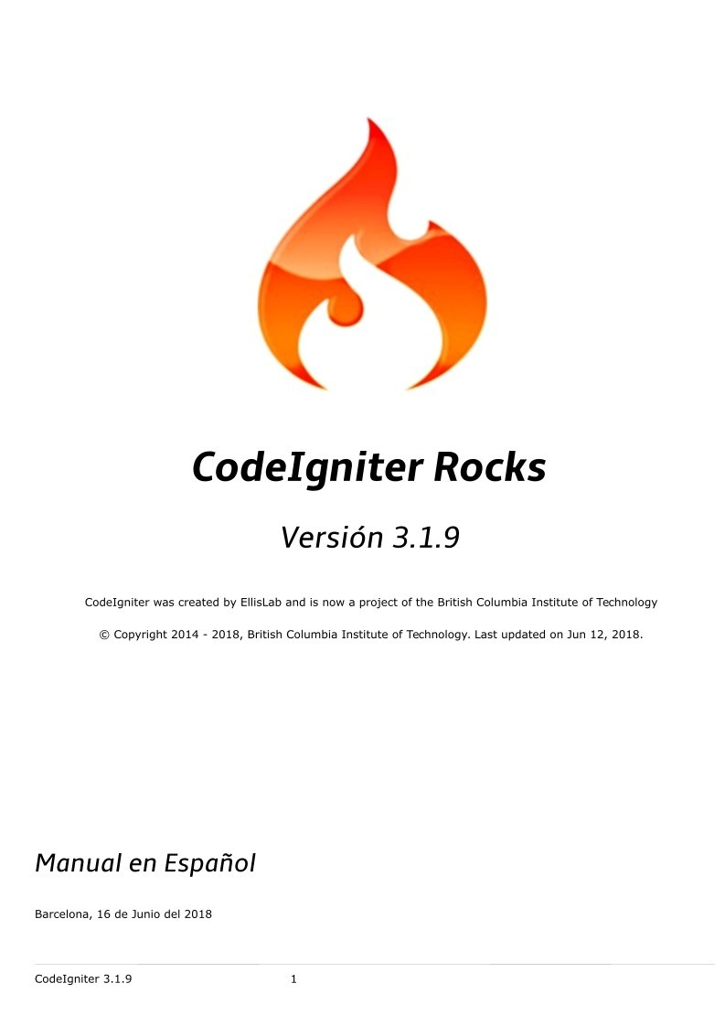 Imágen de pdf CodeIgniter Rocks 3.1.9 Manual Esp