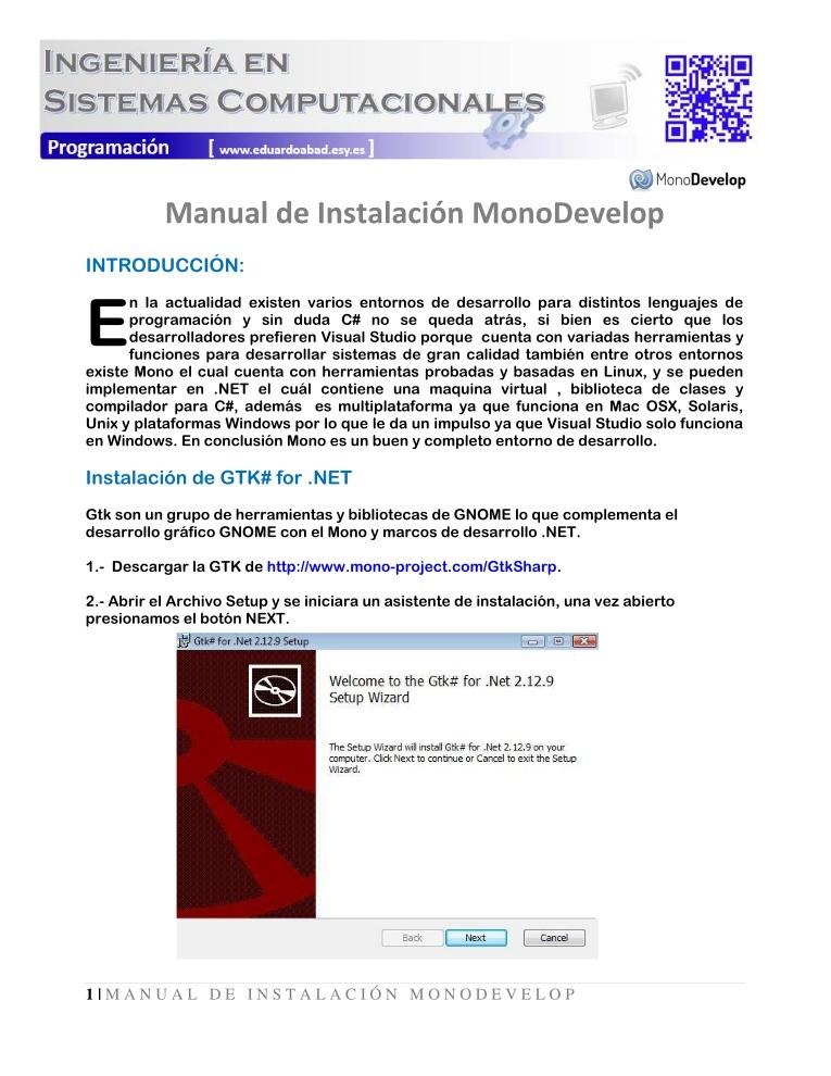 PDF de programación - Manual de Instalación MonoDevelop