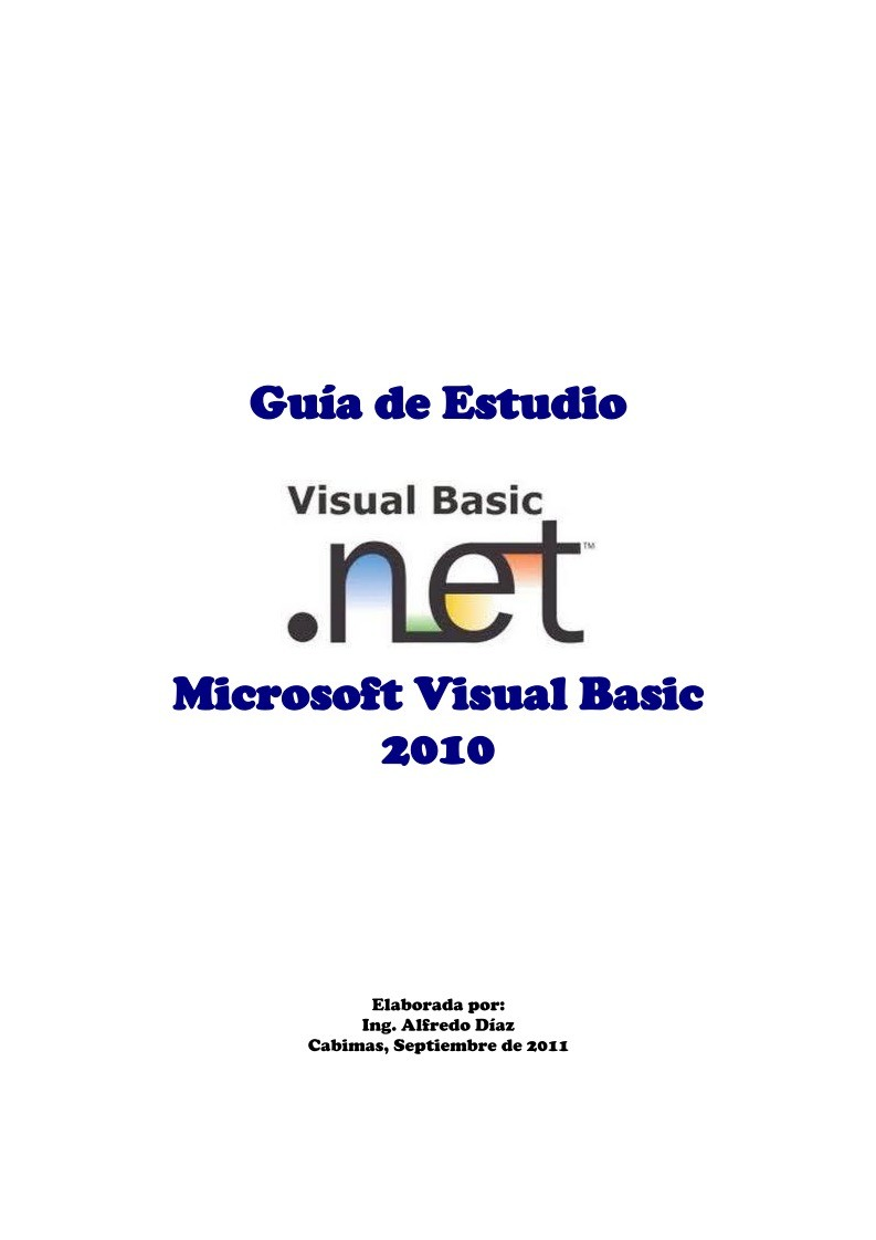 Imágen de pdf Visual Basic.NET 2010 - Guía de Estudio
