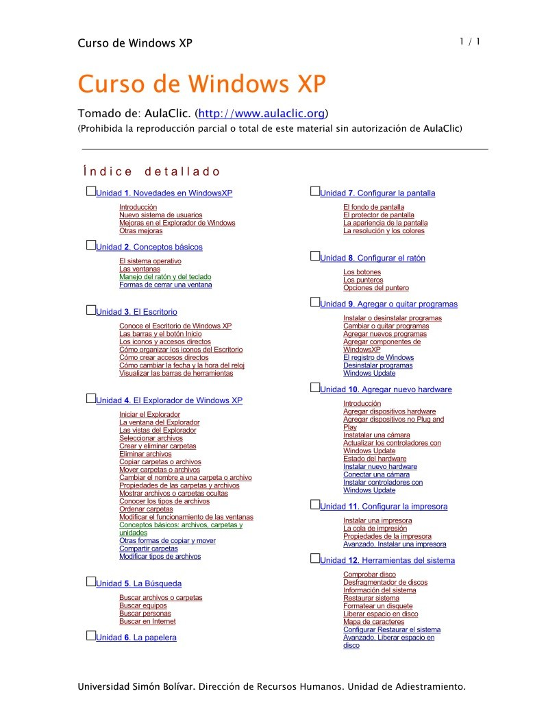 Imágen de pdf Curso de Windows XP