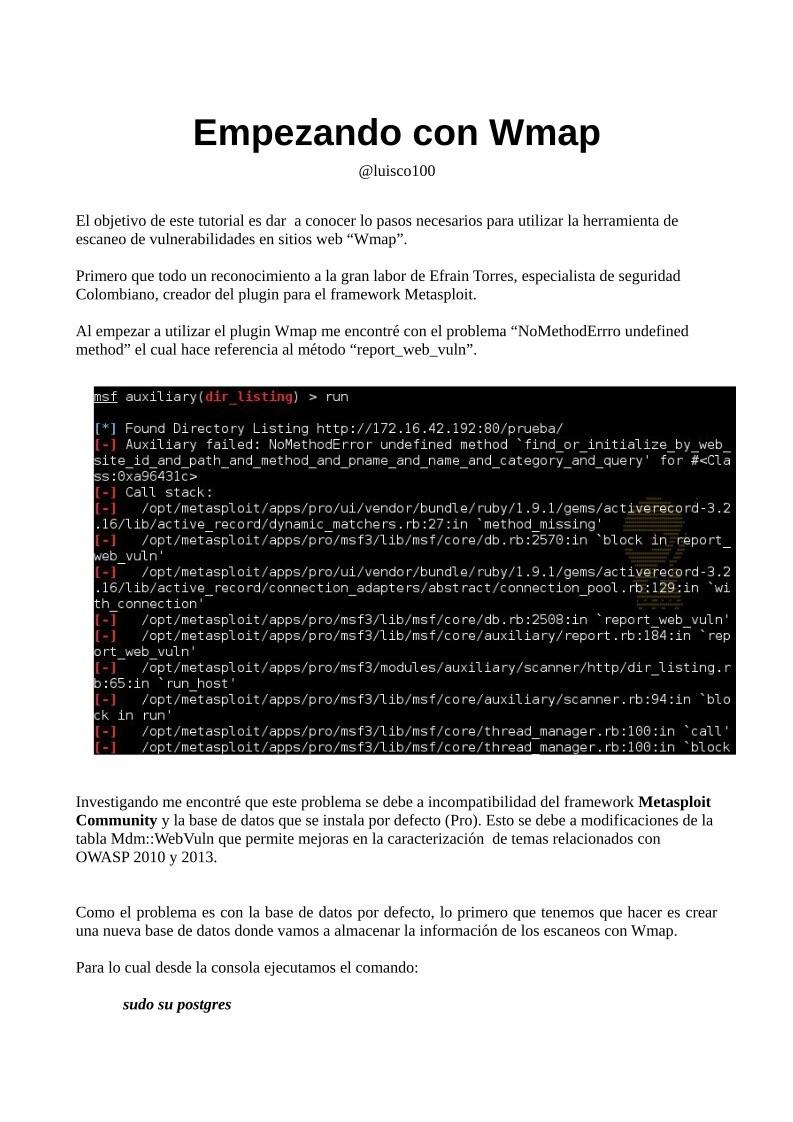 PDF de programación - Empezando con Wmap