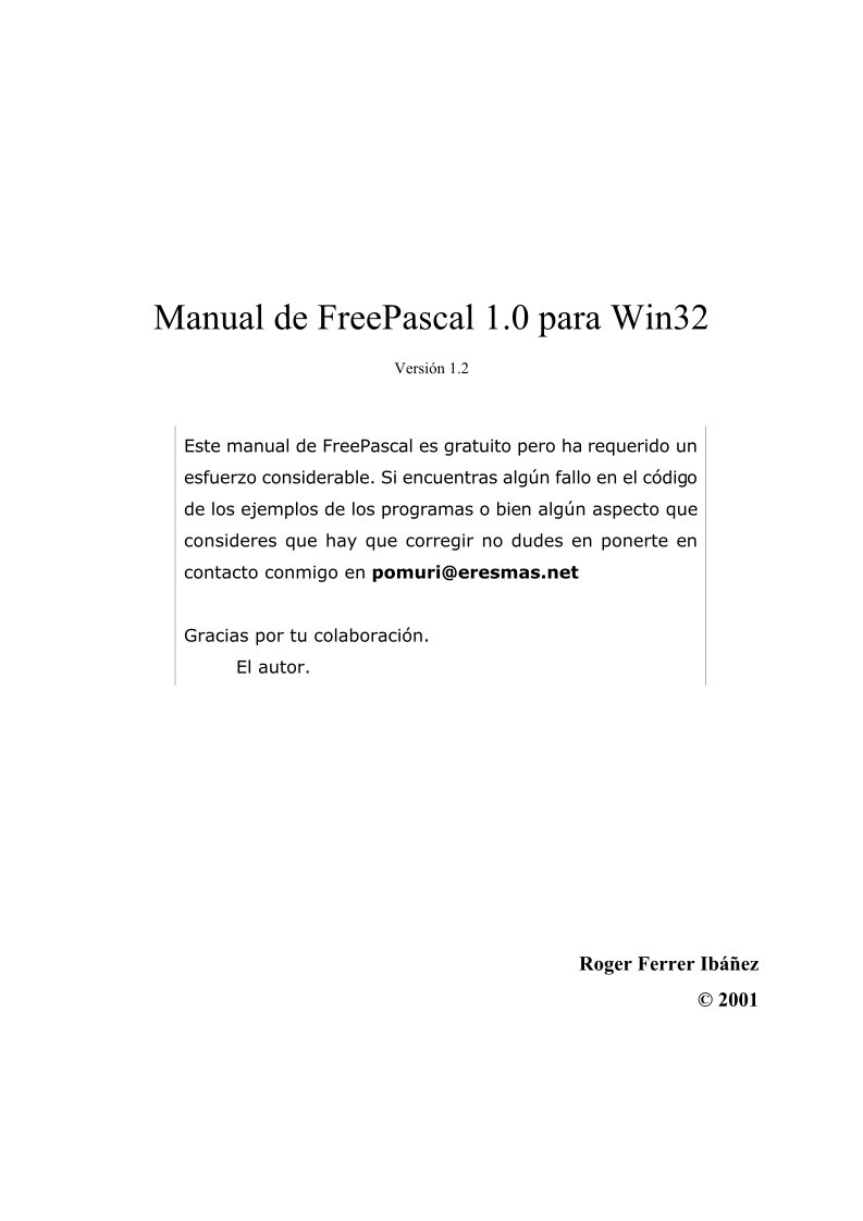 Imágen de pdf Manual de FreePascal 1.0 para Win32