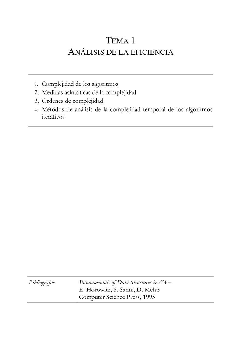 PDF de programación - Tema 1 - Análisis de la eficiencia