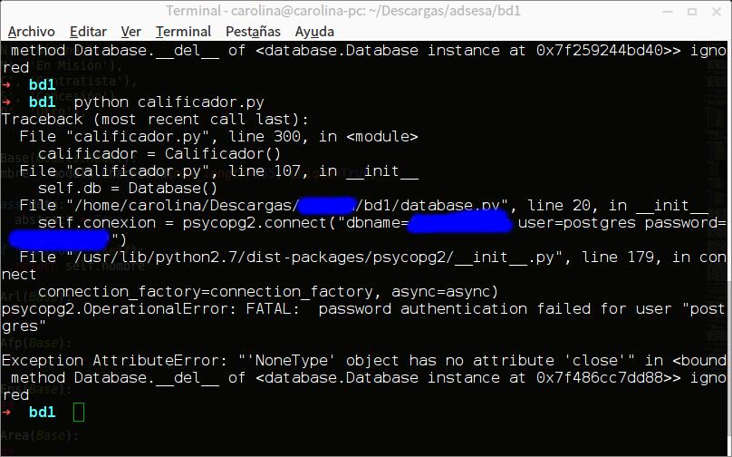 Python - Exception AttributeError Psycopg2 No conexión