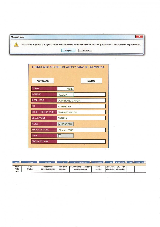 Excel - Formulario para Registrar Movimientos de Altas y Bajas de ...