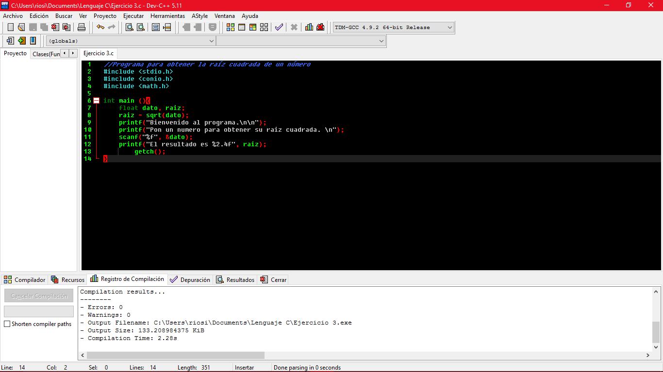 Dev - C++ - Problema con un programa para obtener la raíz cuadrada ...