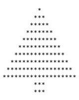 este simple cdigo muestra como dibujar un rbol de navidad con asteriscos